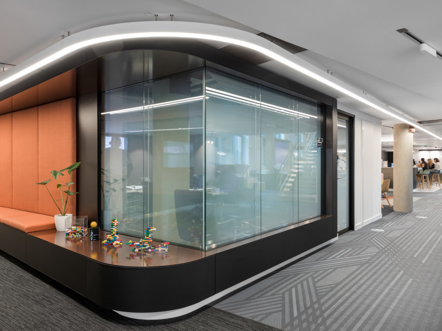 Boardroom captured from outside, with fog windows for privacy.