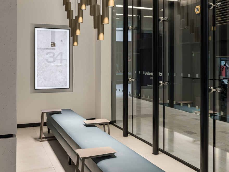 This modern Cat B fit out showcases quality seating and lighting features.