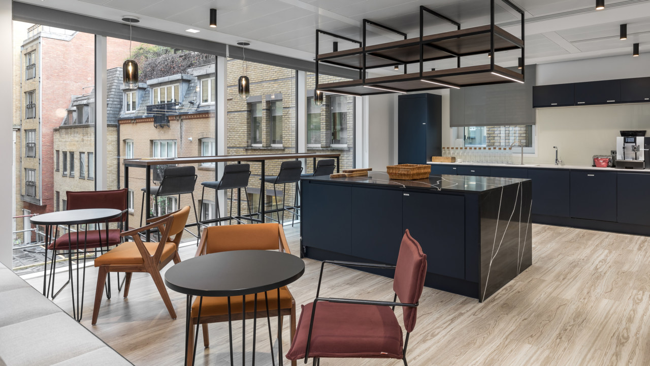 Breakout space with floor-to-ceiling glazing